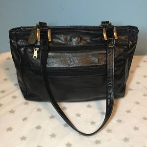 SAS genuine leather black purse